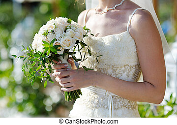 wedding bouquet in the hands of bride - Wedding decor....