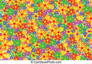 Flower Background - Background Full Of Different Colored...