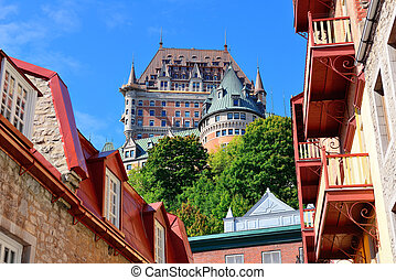 Chateau Frontenac in the day with cloud and blue sky in...