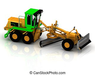 Yellow grader with green cabin on a white background