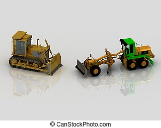 Grader and crawler tractor with bucket