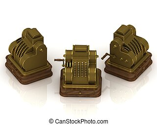 Three old gold-plated cash registers on a white background
