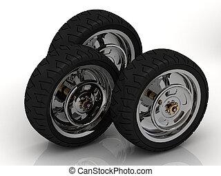 3 Black wheels of a bike