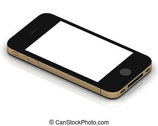 Conceptual smartphone in gold case with gold buttons on a...