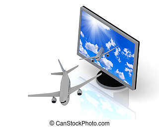 Of the display with the screen saver sky fly airplanes