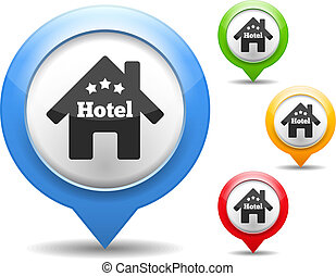 Hotel Icon - Map marker with icon of a hotel, vector eps10...