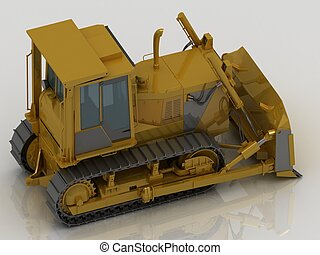 Caterpillar tractor with bucket