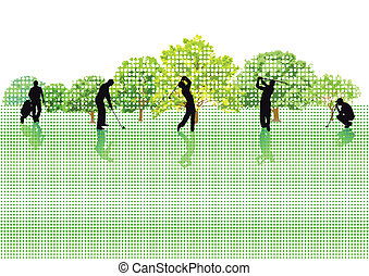 five golf players