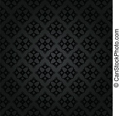 Seamless black floral wallpaper