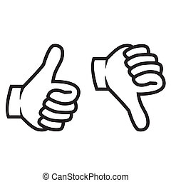 Thumbs up and down gesture in black. Isolated on white...