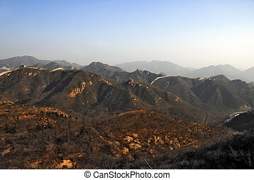 Great Wall in China. Panoramic view.