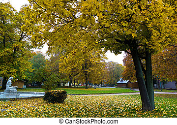 volksgarten in linz, upper austria in autumn - the linz...