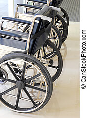 Close up of empty wheelchair in hospital