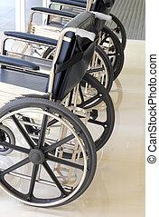 終わり, 車椅子, 病院, の上, 空