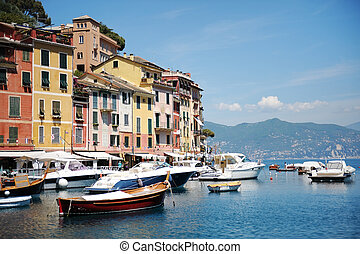 Portofino, Italy - beautiful view of the port in Portofino
