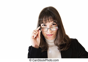 Business woman with glasses on white background