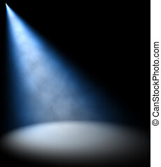 Blue spot Light Beam on dark background