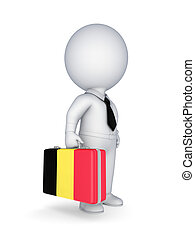 Suitcase with flag of Belgium - 3d small person with...