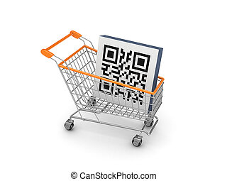 Symbol of QR code in a shopping trolley.Isolated on white...