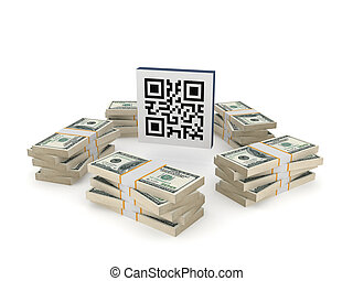 Stacks of dollars around QR code.Isolated on white...