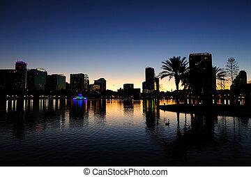 Orlando silhouette - Orlando downtown skyline panorama...
