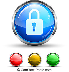 Locked Cristal Glossy Button