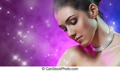 beauty portrait - a beauty girl on the color background