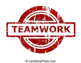 Teamwork business stamp with copy space isolated on white...