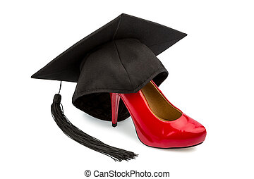 ladies shoes and mortarboard - a red ladies shoes on a...