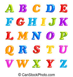 ABC collection Alphabet 3D Font creative Isolated Letters -...