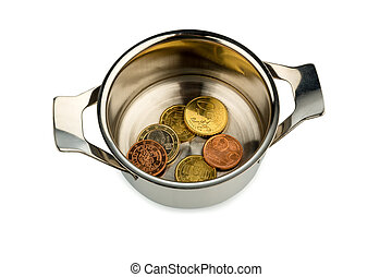saucepan and euro coins - a few euro coins in a pot, symbol...