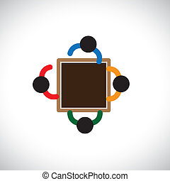 Graphic- Team of employer or office staff or workers in a...