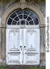 Baroque Door - Main entrance of an ruined baroque manor...