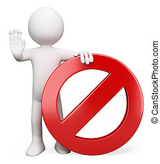 3D white people. Forbidden sign - 3d white person with a...