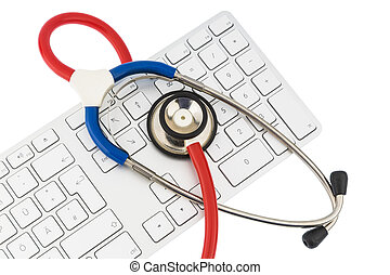 stethoscope and keyboard of a computer - stethoscope and a...