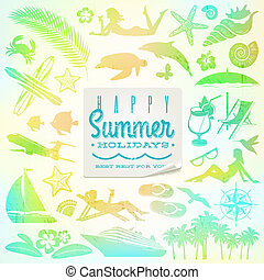 Rest and travel vector set with summer holidays greeting...