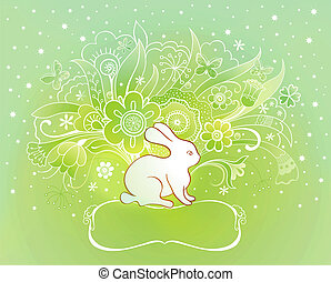 Spring Easter card with rabbit
