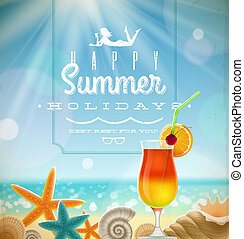Summer holidays illustration with greeting lettering and...
