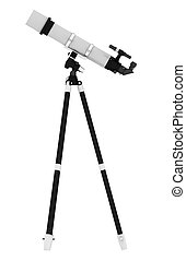 telescope - Celectial telescope on tripod islotaed on white...