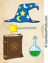 Wizard Stuff With Old Paper Background Cartoon Character