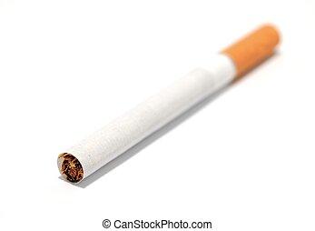 Macro cigarette - Macro shot of classic cigarette on a white...