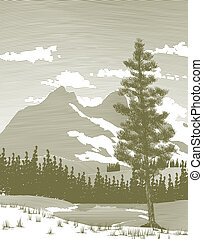 Wooduct Mountain and Lake - Woodcut style illustration of a...