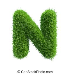grass letter N isolated on white background
