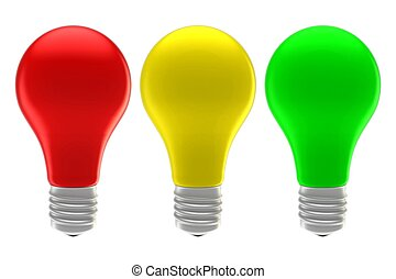 red, yellow and green lights isolated on white background