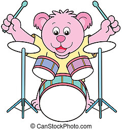 Cartoon Bear Playing Drums