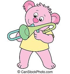 Cartoon Bear Playing a Trombone - Cartoon Bear playing a...