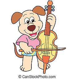 Cartoon Dog Playing a Cello