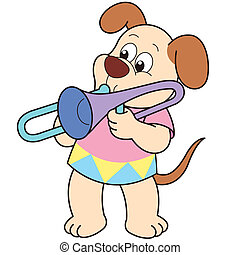 Cartoon Dog Playing a Trombone - Cartoon Dog playing a...
