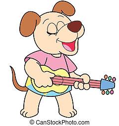 Cartoon Dog Playing a Guitar - Cartoon Dog playing a guitar.