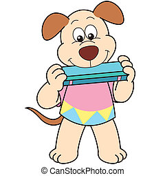 Cartoon Dog Playing a Harmonica - Cartoon Dog playing a...